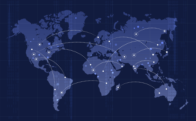 Mapa del mundo con conexiones